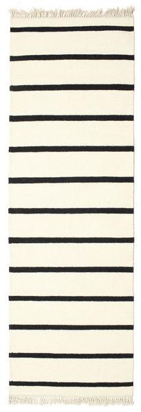 Dorri Stripe - Wit/Zwart Vloerkleed 80X250 Echt Modern Handgeweven Tapijtloper Wit/Creme/Beige (Wol, India)