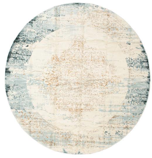 Alaska - Licht Blauw/Cream Vloerkleed Ø 300 Modern Rond Lichtgrijs/Beige Groot ( Turkije)