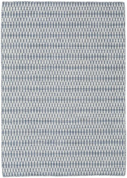 Kelim Long Stitch - Blauw Vloerkleed 140X200 Echt Modern Handgeweven Lichtblauw/Wit/Creme/Lichtgrijs (Wol, India)