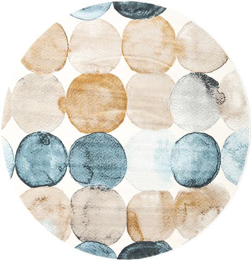 Dreamy Dots Vloerkleed Ø 200 Modern Rond Beige/Donkerbeige ( Turkije)