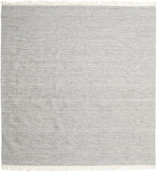 Melange - Grijs Vloerkleed 200X200 Echt Modern Handgeweven Vierkant Lichtgrijs (Wol, India)