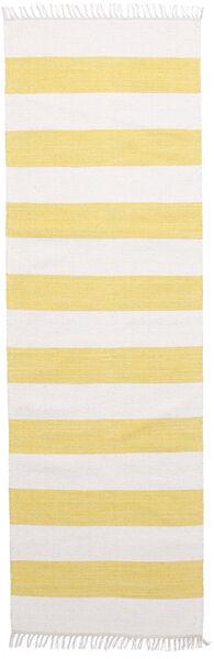 Cotton Stripe - Geel Vloerkleed 80X250 Echt Modern Handgeweven Tapijtloper Geel/Beige (Katoen, India)