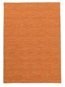Kelim Loom - Oranje Vloerkleed 160X230 Echt Modern Handgeweven Oranje (Wol, India)