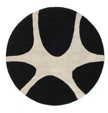 Stones Handtufted - Zwart Vloerkleed Ø 150 Modern Rond Zwart/Lichtgrijs (Wol, India)