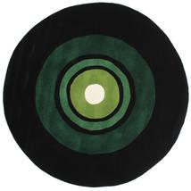 Schallplatte Handtufted Vloerkleed Ø 150 Modern Rond Donkergroen (Wol, India)