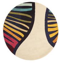 Vases Vloerkleed Ø 200 Modern Rond Beige/Zwart ( Turkije)