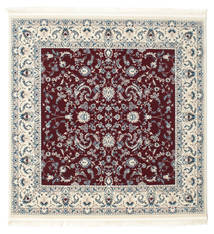 Nain Florentine - Donker Rood Vloerkleed 150X150 Oosters Vierkant Beige/Lichtgrijs ( Turkije)