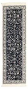 Nain Florentine - Donkerblauw Vloerkleed 80X250 Oosters Tapijtloper Donkergrijs/Lichtgrijs ( Turkije)