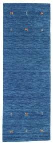 Gabbeh Loom Two Lines - Blauw Vloerkleed 80X250 Modern Tapijtloper Donkerblauw/Blauw (Wol, India)