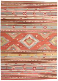 Kelim Mersin Vloerkleed 160X230 Echt Modern Handgeweven Roestkleur/Donkerrood (Wol, India)