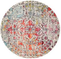 Kaleidoscope - Multi Vloerkleed Ø 200 Modern Rond Lichtgrijs/Donkerbruin ( Turkije)