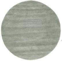 Handloom - Soft Teal Vloerkleed Ø 150 Modern Rond Lichtgrijs/Lichtgroen (Wol, India)