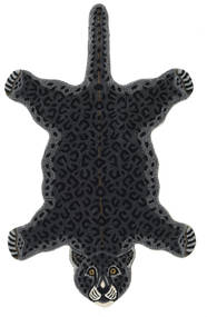 Leopard - Zwart Vloerkleed 100X160 Modern Donkergrijs (Wol, India)