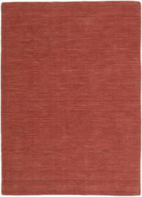 Kelim Loom - Roestkleur Vloerkleed 160X230 Echt Modern Handgeweven Donkerrood (Wol, India)