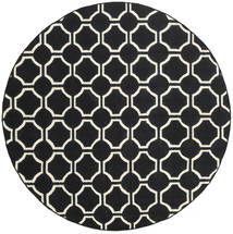 London - Zwart/Gebroken Wit Vloerkleed Ø 225 Echt Modern Handgeweven Rond Zwart (Wol, India)