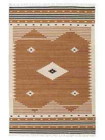 Tribal - Mosterd Geel Vloerkleed 140X200 Echt Modern Handgeweven Bruin/Lichtbruin (Wol, India)