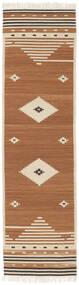 Tribal - Mosterd Geel Vloerkleed 80X300 Echt Modern Handgeweven Tapijtloper Bruin/Lichtbruin/Beige (Wol, India)