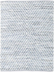 Hilda - Denim/Wit Vloerkleed 140X200 Echt Modern Handgeweven Beige/Lichtblauw (Katoen, India)