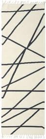 Cross Lines - Gebroken Wit/Zwart Vloerkleed 80X250 Echt Modern Handgeweven Tapijtloper Beige/Donkergrijs (Wol, India)