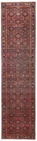Hosseinabad Patina Vloerkleed 79X317 Echt Oosters Handgeknoopt Tapijtloper Donkerrood/Donkerbruin (Wol, Perzië/Iran)