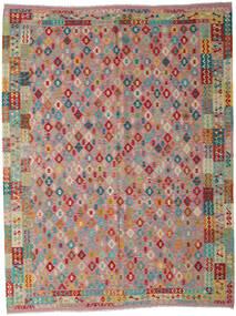 Kelim Afghan Old Style Vloerkleed 260X340 Echt Oosters Handgeweven Bruin/Lichtgrijs Groot (Wol, Afghanistan)