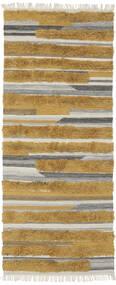 Sunny - Geel Vloerkleed 100X250 Echt Modern Handgeweven Tapijtloper Bruin/Donkerbruin (Wol, India)