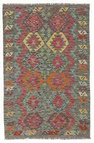 Kelim Afghan Old Style Vloerkleed 102X157 Echt Oosters Handgeweven Donkergroen/Donkerrood (Wol, Afghanistan)