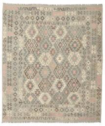 Kelim Afghan Old Style Vloerkleed 213X244 Echt Oosters Handgeweven Donkergrijs/Donkerbruin (Wol, Afghanistan)